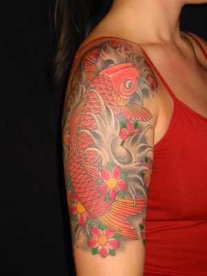 Gorgeous Fish And Grey Wave Tattoos On Half Sleeve