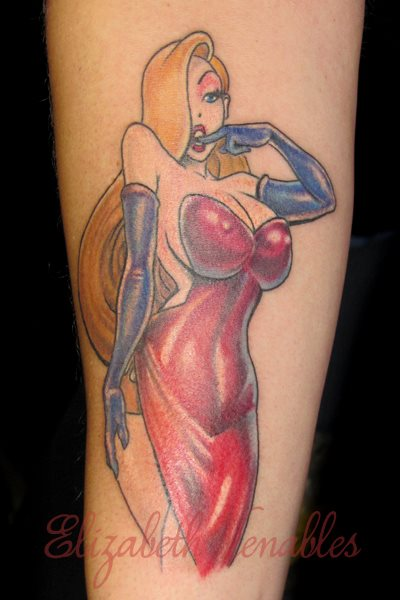 Gorgeous Jessica Rabbit With Finger In Mouth Tattoo