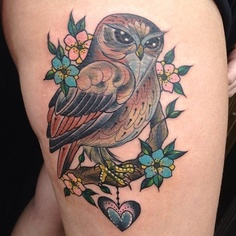 Gorgeous Owl On Blossom Tree Tattoo
