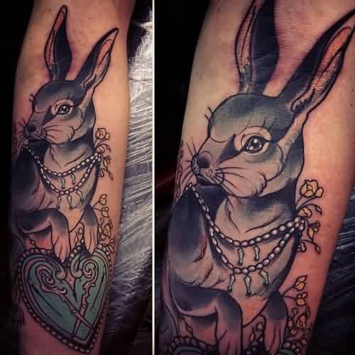 Gorgeous Rabbit And Blue Heart Tattoos