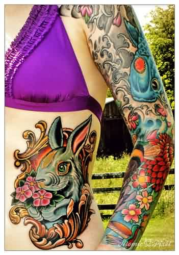 Gorgeous Rabbit Tattoo On Stomach