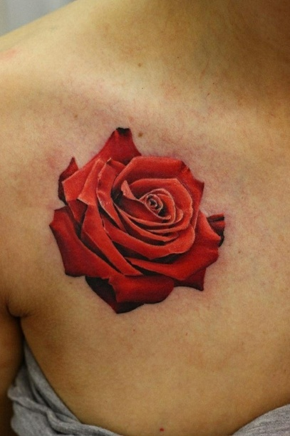 Gorgeous Rose Tattoo On Collarbone