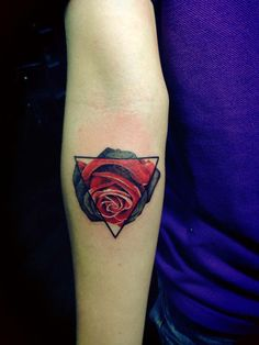 Gorgeous Rose Triangle Tattoo On Arm