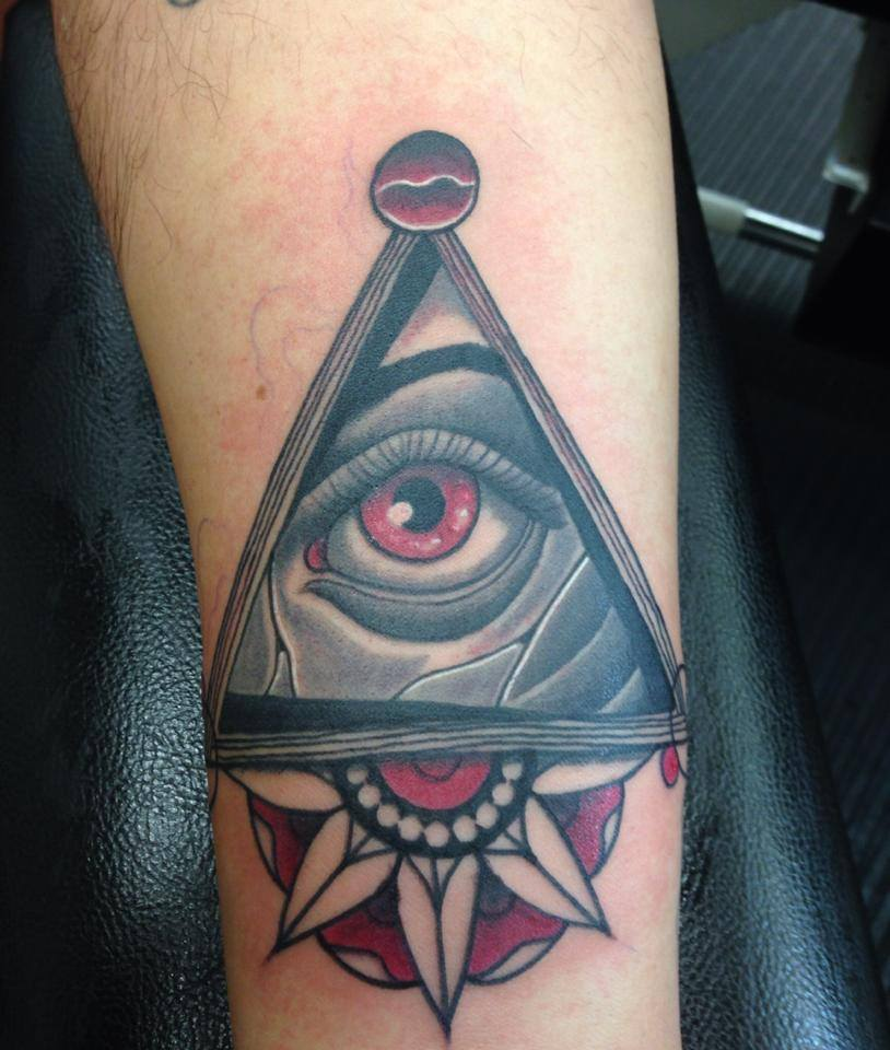 Gorgeous Triangle Eye And Flower Tattoos