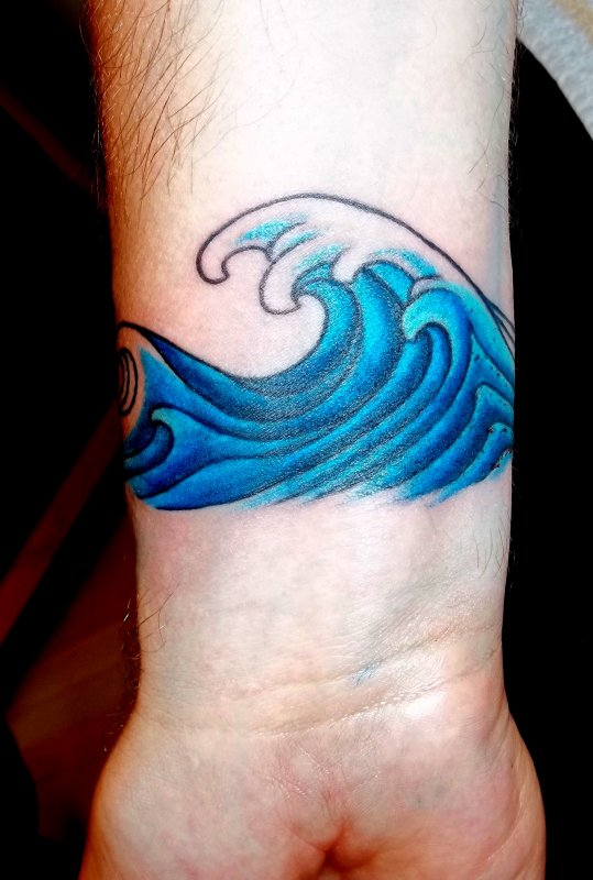 Gorgeous Wave Tattoo Near Wrist