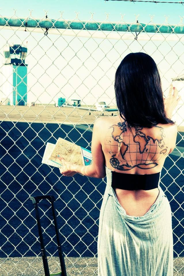 Gorgeous World Map Tattoo On Back