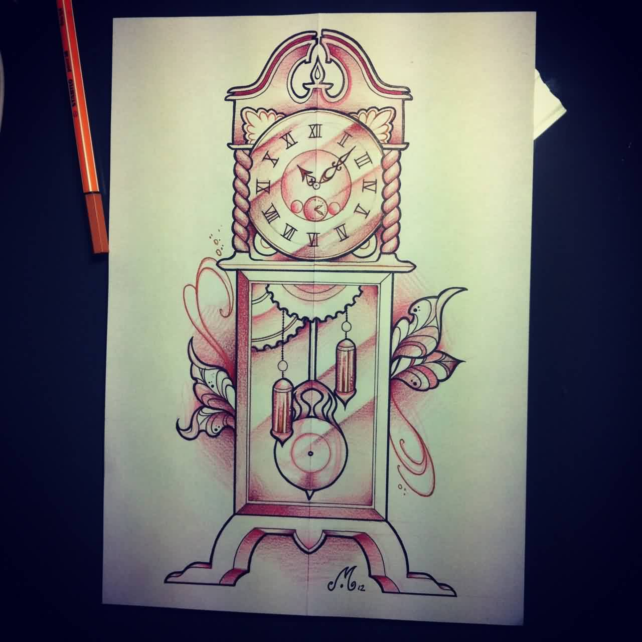 Grandfather Clock Tattoo Design Page