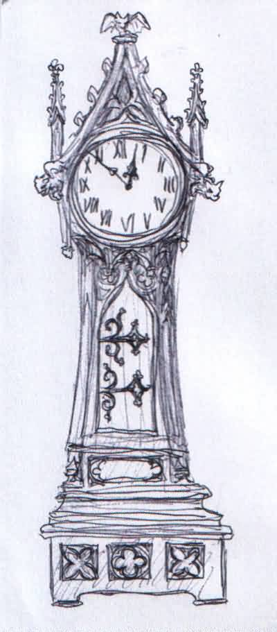 Grandfather Clock Tattoo Sketch