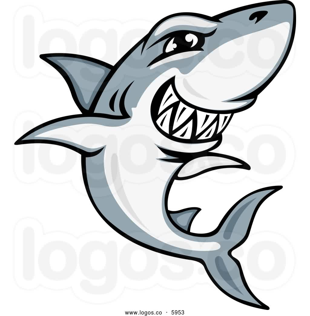 Gray And White Shark Grinning Tattoo Design