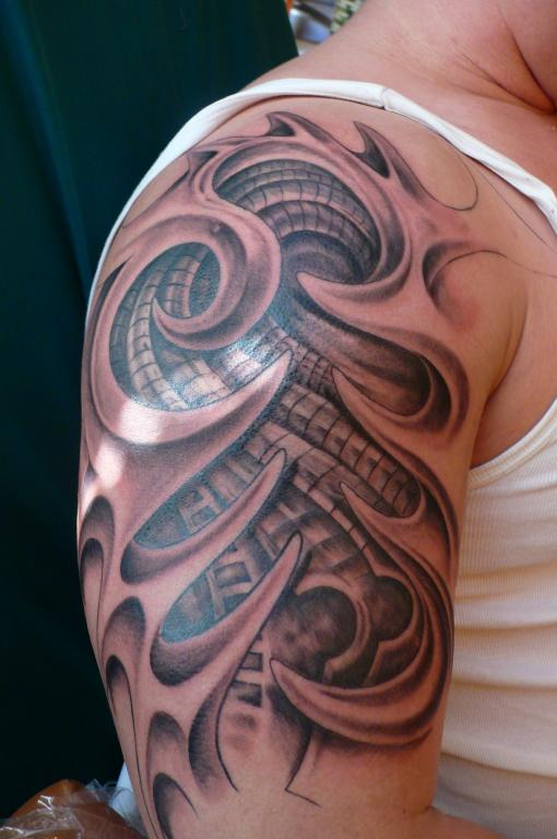 Great 3D Biomechanical Tattoo On Half Sleeve