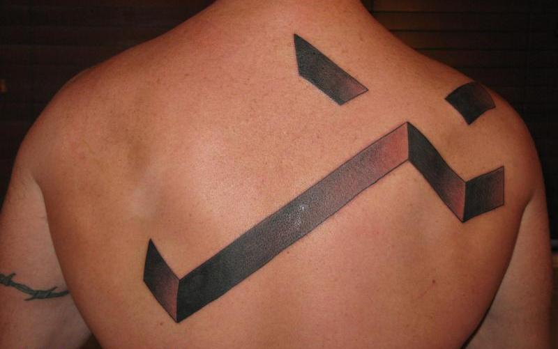 Great 3D Cross Tattoo On The Back