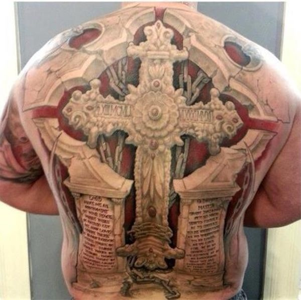 Great 3D Cross Tattoo On Whole Back
