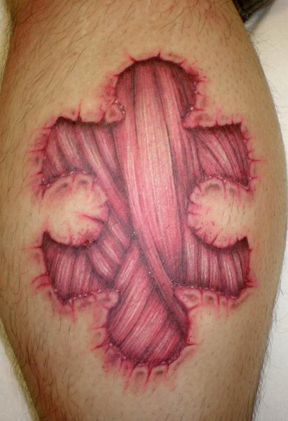 Great 3D Muscle Tissue Puzzle Tattoo