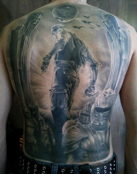 Great 3D Tattoos On Whole Back