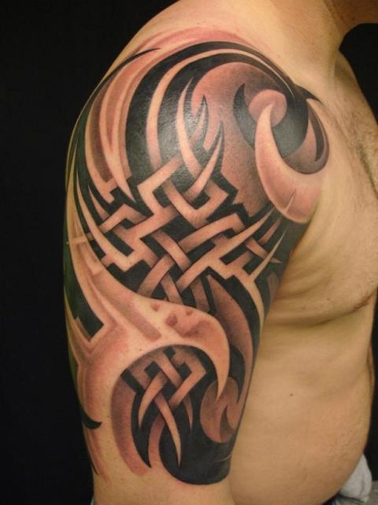 Great 3D Tribal And Celtic Tattoos On Half Sleeve