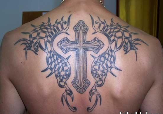 Great 3D Tribal And Cross Tattoos