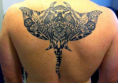 Great Black Maori Polynesian Tattoo On Back