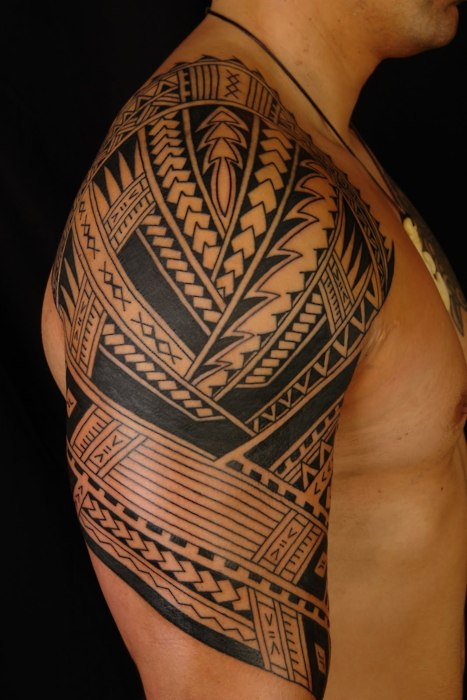 Great Black Polynesian Half Sleeve Tattoo