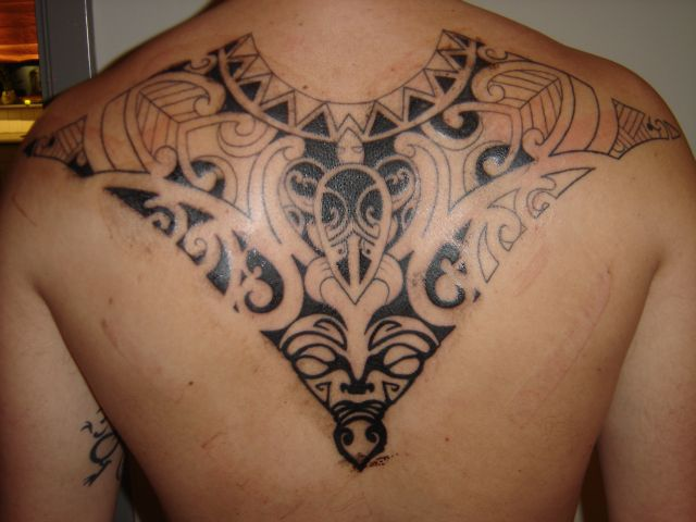 Great Black Polynesian Tattoo On The Back