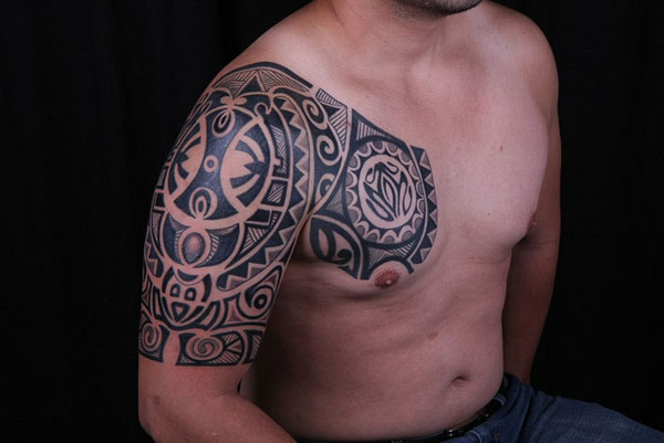 Great Black Polynesian Tattoos On Half Sleeve And Chest