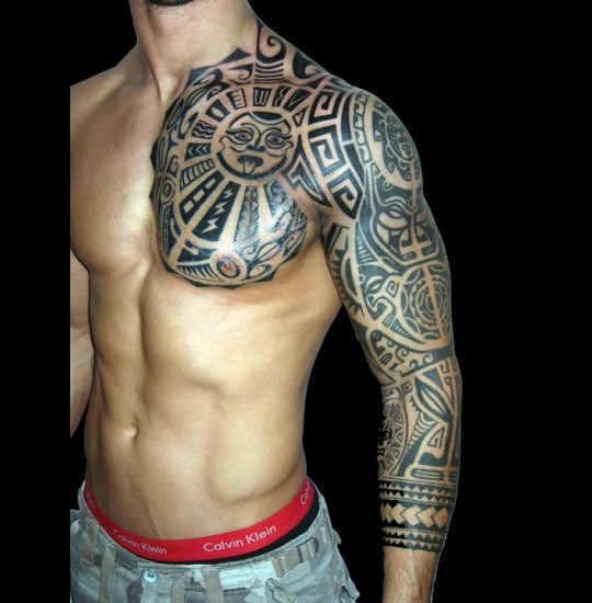 Great Black Polynesian Tribal Tattoos On Chest And Left Sleeve