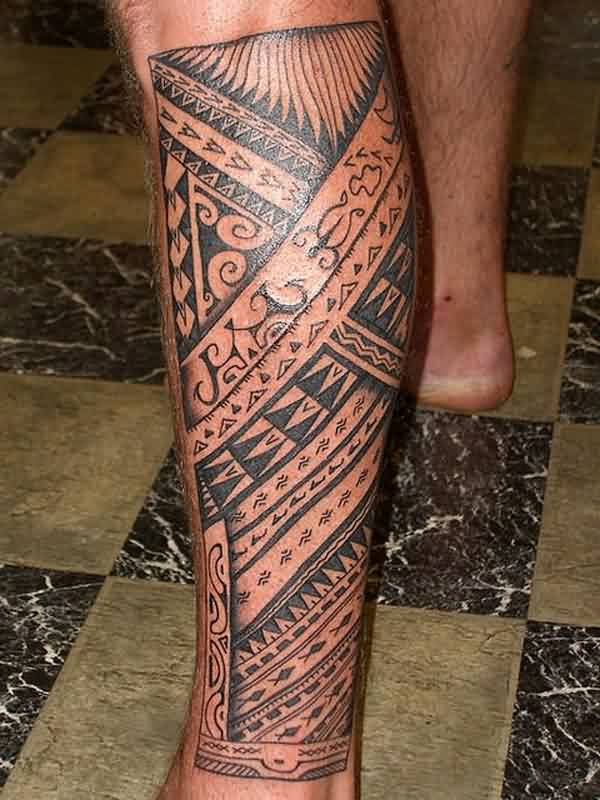 Great Black Polynesian Tribal Tattoos On Leg