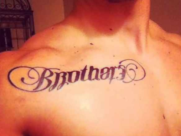 Great Brother Word Tattoo On Right Collarbone