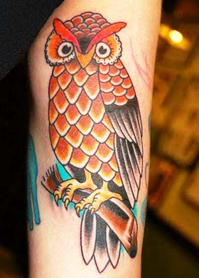 Great Brown Owl Tattoo