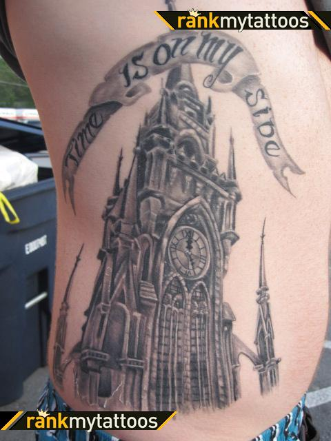 Great Clock Tower Tattoo On Side