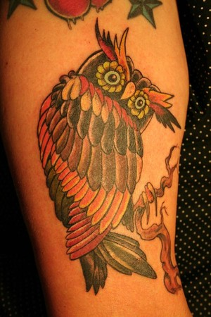 Great Color Owl Tattoo