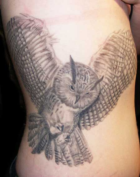 Great Flying Owl Tattoo On Side