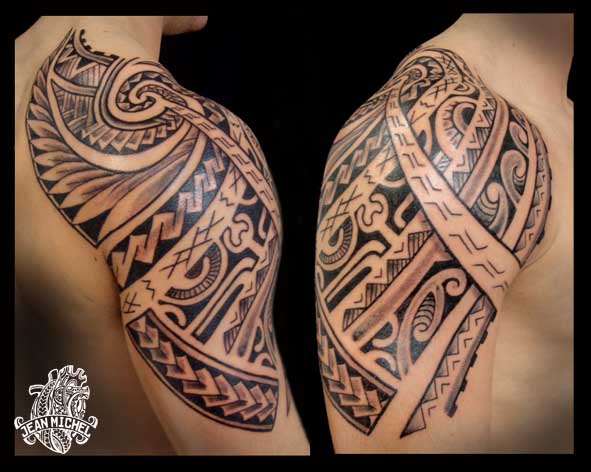 Great Pacific Polynesian Tattoo On Shoulder