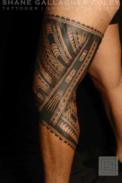 Great Polynesian Knee Band Tattoo