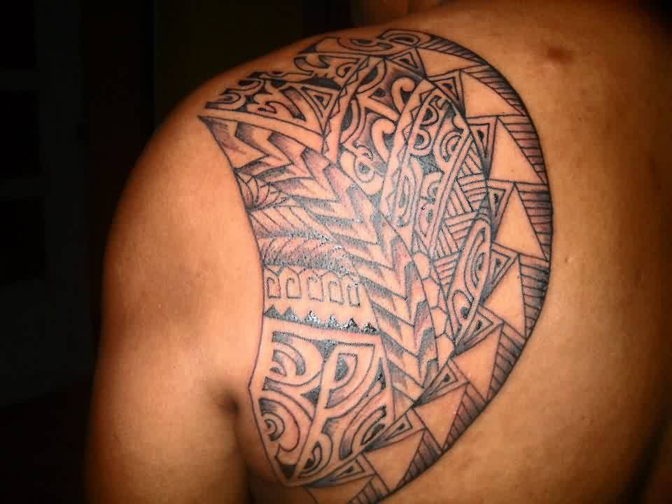 Great Polynesian Tattoo On Left Shoulder Blade