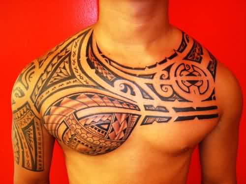 Great Polynesian Tattoos On Chest