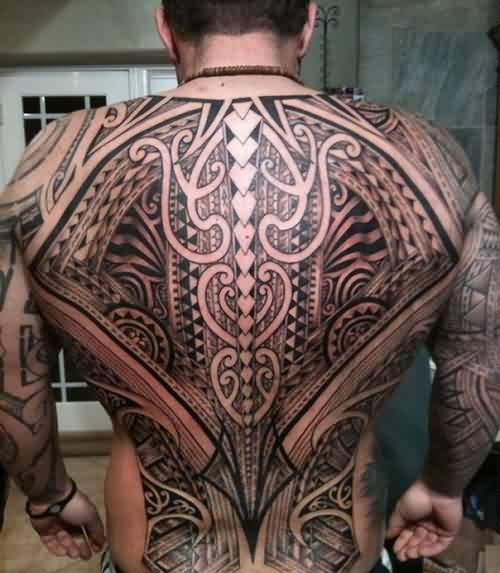 Great Polynesian Tattoos On Entire Back For Men