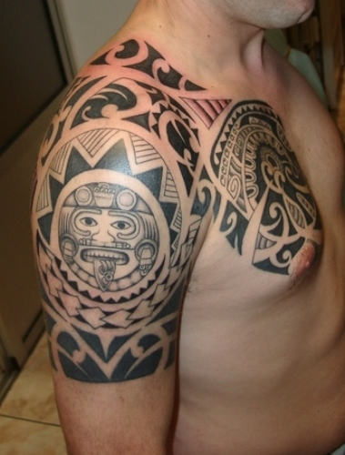 Great Polynesian Tattoos On Half Sleeve And Chest
