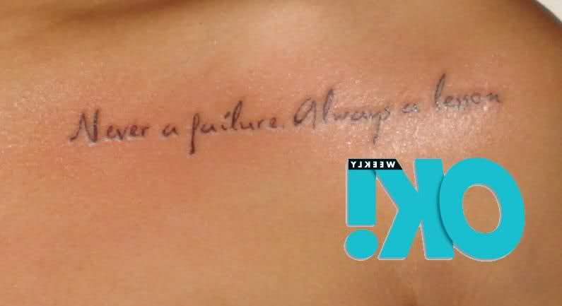 Great Quote Tattoo On Collarbone