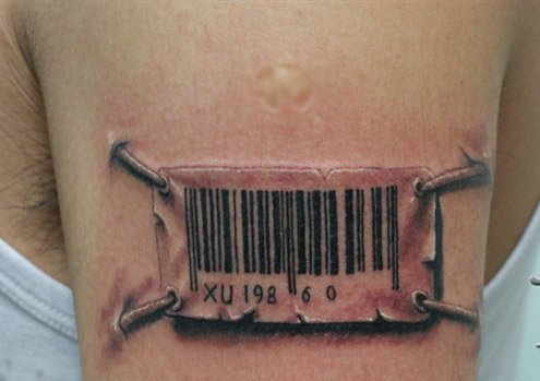 Great Realistic 3D Barcode Tattoo On Biceps