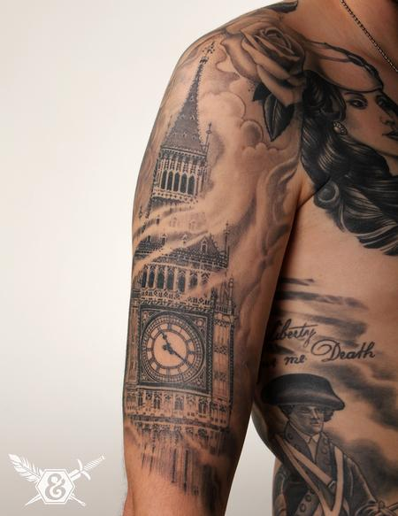 Great Tower Clock Tattoo On Right Arm