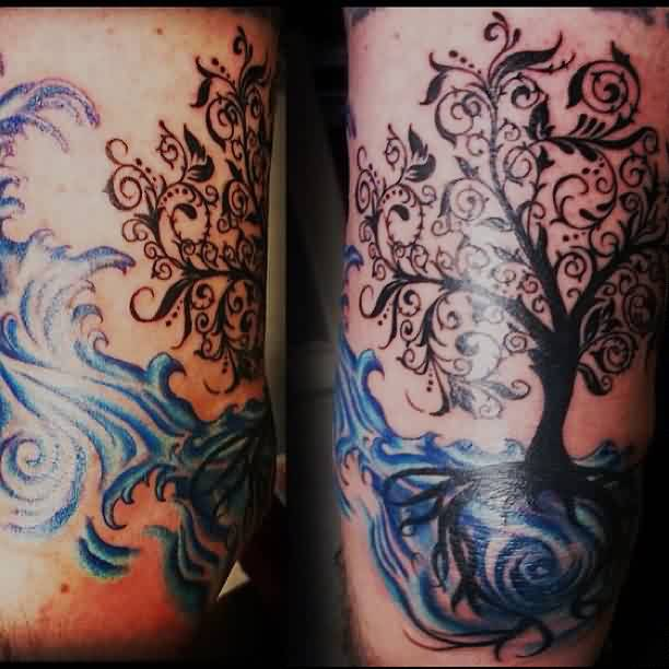 Great Tree Ocean Waves Tattoos