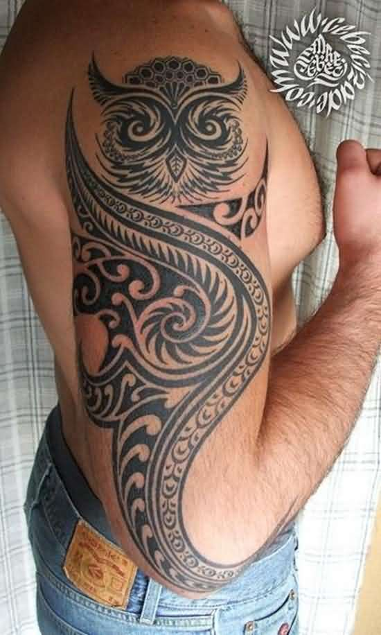 Great Tribal Owl Tattoo On Half Sleeve