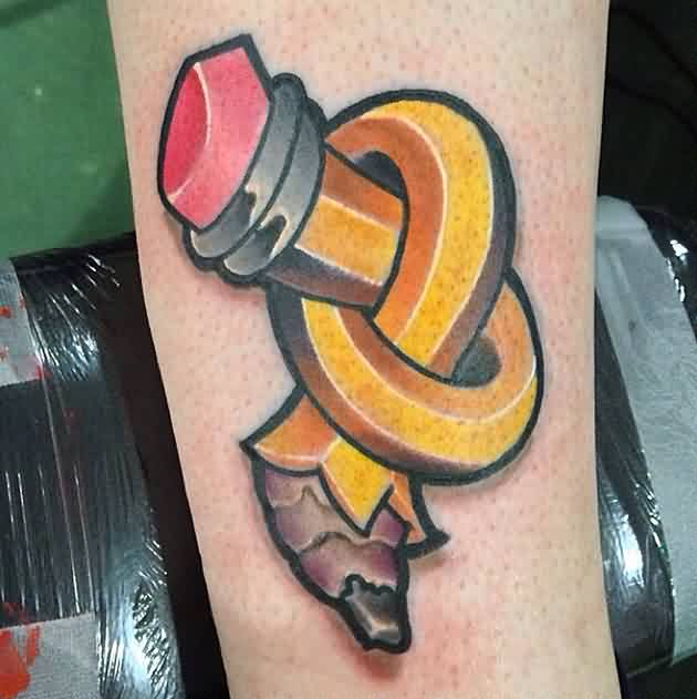 Great Twisted Pencil Tattoo