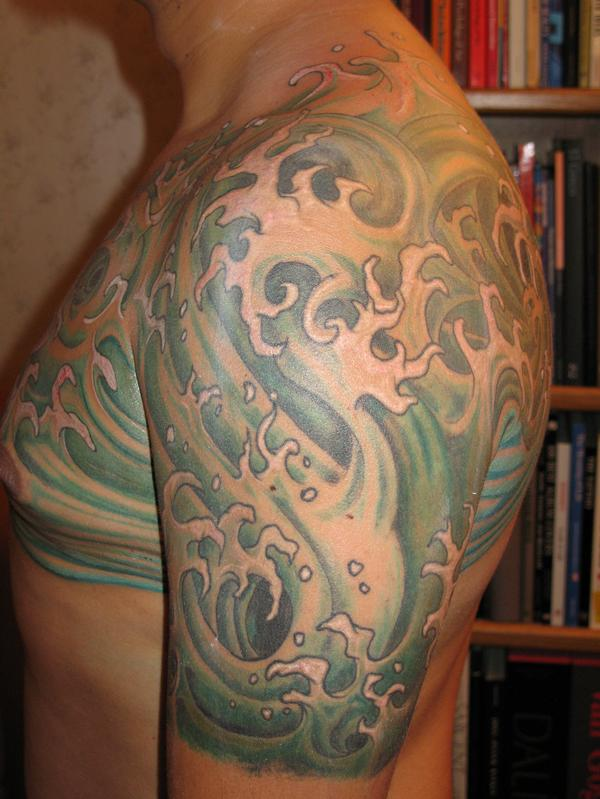 Great Wave Tattoos On Half Sleeve For Men