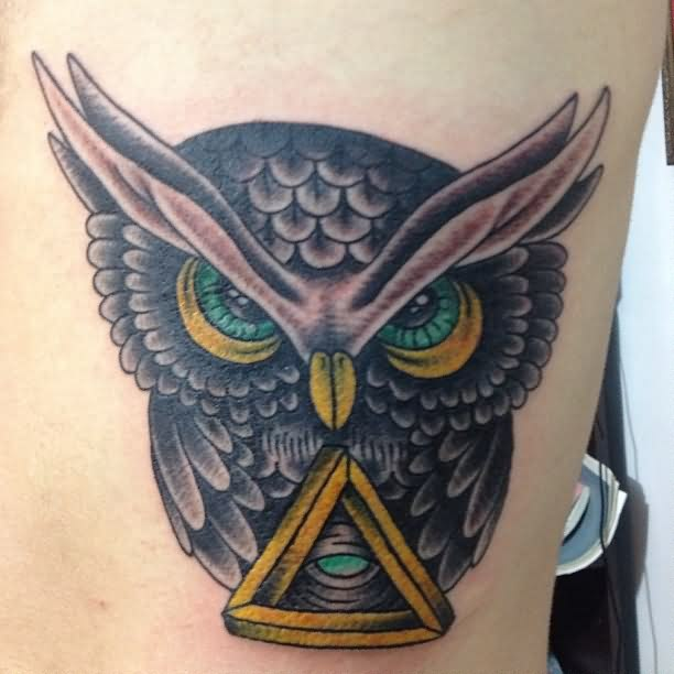 Green Eyed Owl Tattoo