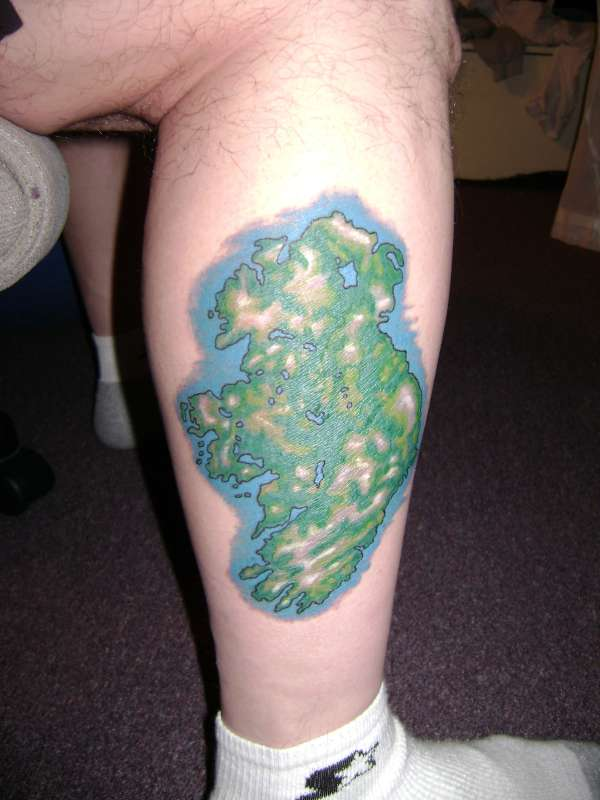 Green Ireland Map Tattoo On Leg