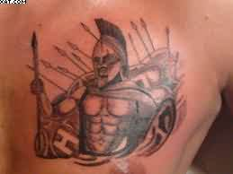 Green Spartan Warrior Tattoo For Chest