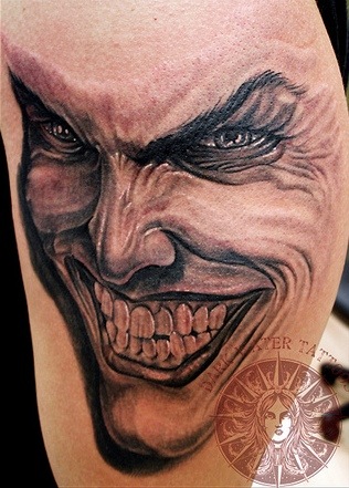 Grey 3D Insane Joker Tattoo