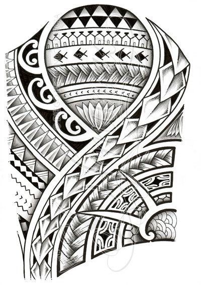 Grey And Black Polynesian Tattoo Design
