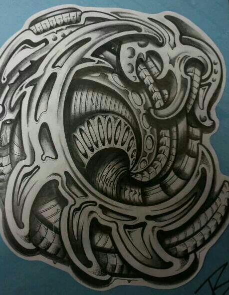 Grey Biomechanical Polynesian Tattoo Sketch